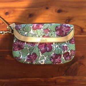 Coach floral pattern large wristlet